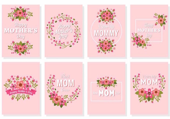Free Happy Mother's Day Flower Card Vector - Kostenloses vector #389055