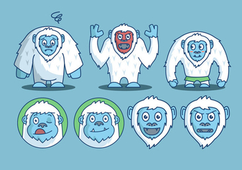 Yeti character emotion vector pack - Free vector #389065