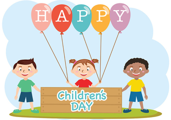 Happy Children Day Vector - Kostenloses vector #389095