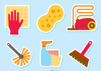 Home Cleaning Tools Vector Set - Free vector #389195