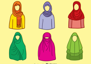 Hand Drawn Muslim Hijab Colletion Vector - Free vector #389205