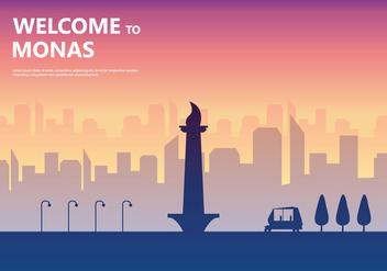 Sunset Monas Illustration - vector gratuit #389225