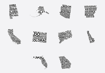 America Word Map Set 3 - vector #389305 gratis