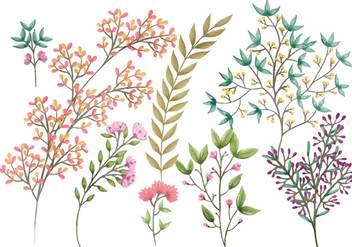 Boho Vector Floral Elements - vector gratuit #389315