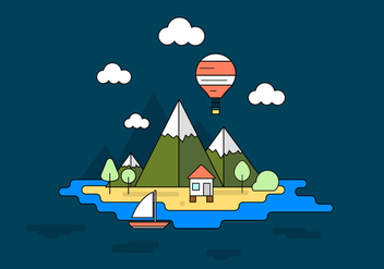 Vacation Island Vector Illustration - Free vector #389325