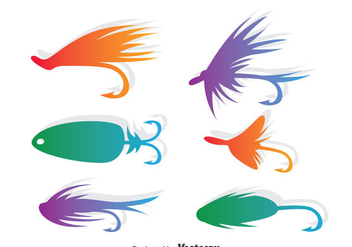 Colorful Fly Fishing Vector Set - Kostenloses vector #389525