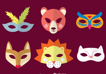 Purim Animal Mask Collection - бесплатный vector #389555