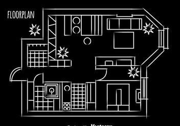 House Floorplan Design vector - Kostenloses vector #389565