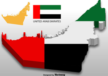 United Arab Emirates - Vector 3D Map - Kostenloses vector #389625