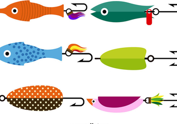 Vector Fishing Lure Icon Set - Free vector #389635