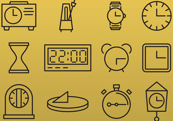 Line Clock Icons - vector gratuit #389685