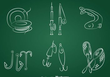 Hand Drawn Fishing Icons Vector - Free vector #389755