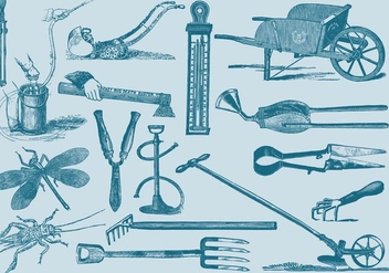 Garden And Farm Tools Set Two - бесплатный vector #389775