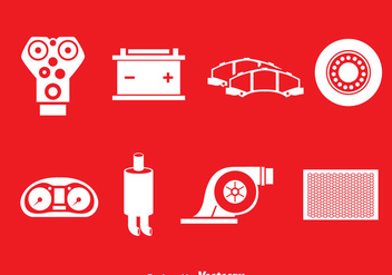 Car Engien Parts White Icons - vector gratuit #389965