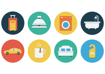 Free Flat Hotel Icon Set - vector gratuit #390045