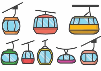 Cable Car Set - vector #390105 gratis