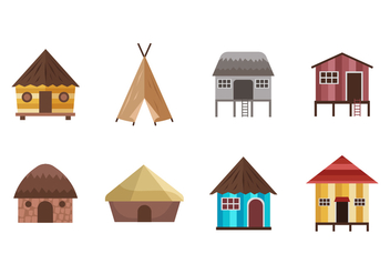 Free Shack and Traditional Housed Vectors - vector gratuit #390365