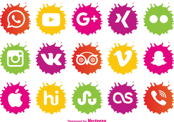 Paint Splatter Style Icon Set - Free vector #390515