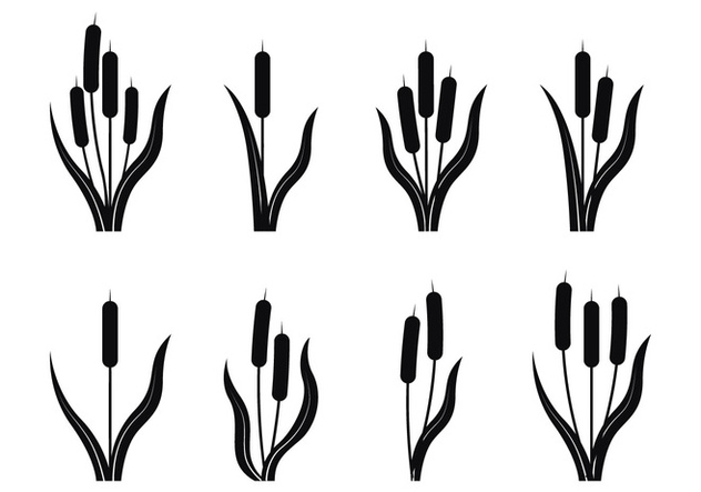 Cattails Silhouette - Free vector #390615