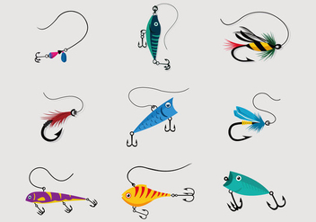 Colorful Fishing Lure Vector Pack - vector gratuit #390755
