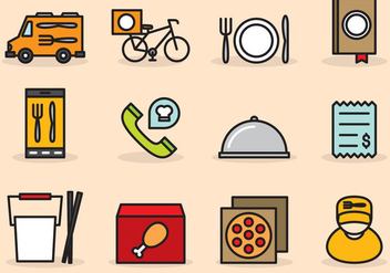 Cute Food Delivery Icons - vector gratuit #390825