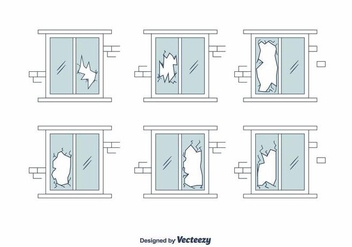 Broken Window Vector Set - vector gratuit #391035