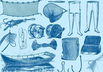 Vintage Fishing Tools - vector gratuit #391055