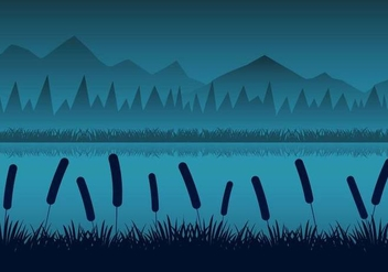 Free Night Rivers Landscape With Reeds Silhouttes Vector - vector gratuit #391065