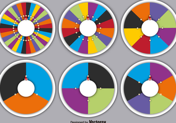Vector Set Of Spinning Wheels Of Fortune - vector gratuit #391135