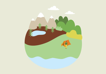 Camping Landscape Illustration - Free vector #391145