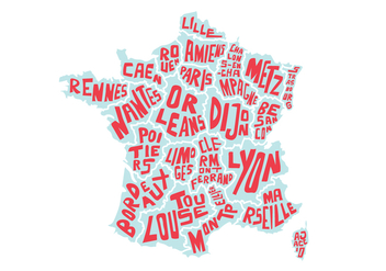 French USA Word Map Vector - vector #391165 gratis