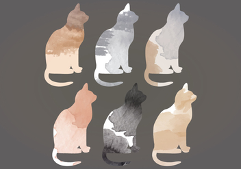 Vector Watercolor Cats - vector gratuit #391235