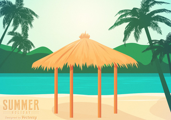 Free Beach Gazebo Vector Illustration - бесплатный vector #391385