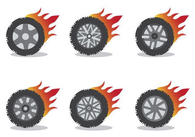 Burnout Wheel Vector Set - Free vector #391455