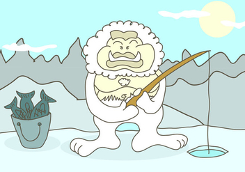 Yeti Cartoon Illustration Vector - Kostenloses vector #391575