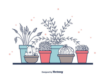 House Plants In Pots - vector #391675 gratis