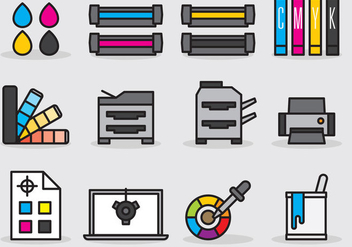 Cute Printing Icons - Free vector #391815