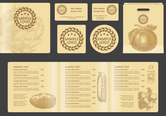 Vintage Square Menu - Free vector #391825