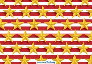 Vector Golden Stars Pattern With Red Stripes - бесплатный vector #392065