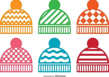 Vector Set Of Winter Hat Icons - vector gratuit #392075