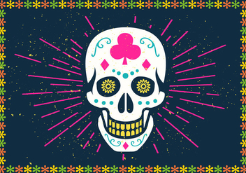 Bright Halloween Sugar Skull Vector Illustration - vector gratuit #392115