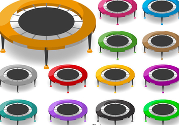 Vector Cartoon Trampoline Icon Set - vector gratuit #392235