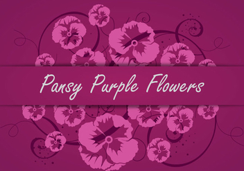 Pansy Purple Flowers Vector Silhouette - Kostenloses vector #392395