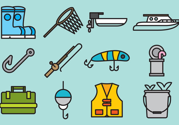 Cute Fishing Icons - Free vector #392405