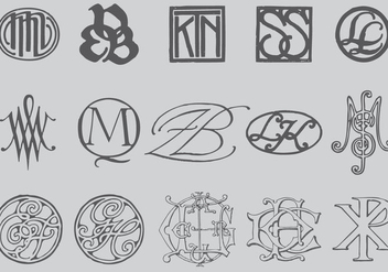 Old Style Monograms - vector gratuit #392415