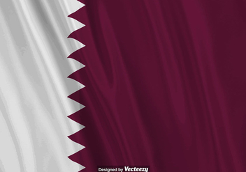 Vector Realistic Illustration Of Qatar Flag. - бесплатный vector #392635