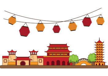 Free China Town Illustration - vector gratuit #392655