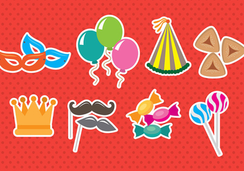 Purim Icons - vector #392675 gratis