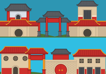 China Town Vector Illustration - бесплатный vector #392785