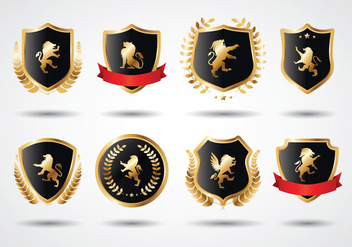 Free Lion Rampant Gold Shield - vector #392815 gratis